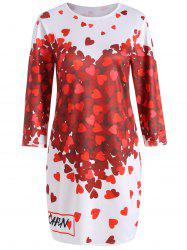 Endearing 3/4 Sleeve Hearts Printed Bodycon Mini Dress For Women -