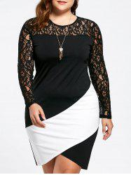 Asymmetric Plus Size Lace Sleeve Pencil Dress -