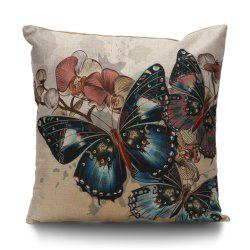 Butterfly Print Throw Linen Pillow Cover -