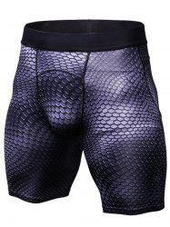 Fitted 3D Geometric Print Gym Shorts -