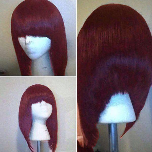 Short Neat Bang High Low Straight Bob Synthetic WigHAIR<br><br>Color: WINE RED; Type: Full Wigs; Cap Construction: Capless; Style: Bob; Material: Synthetic Hair; Bang Type: Full; Length: Short; Length Size(Inch): 34; Weight: 0.1800kg; Package Contents: 1 x Wig;