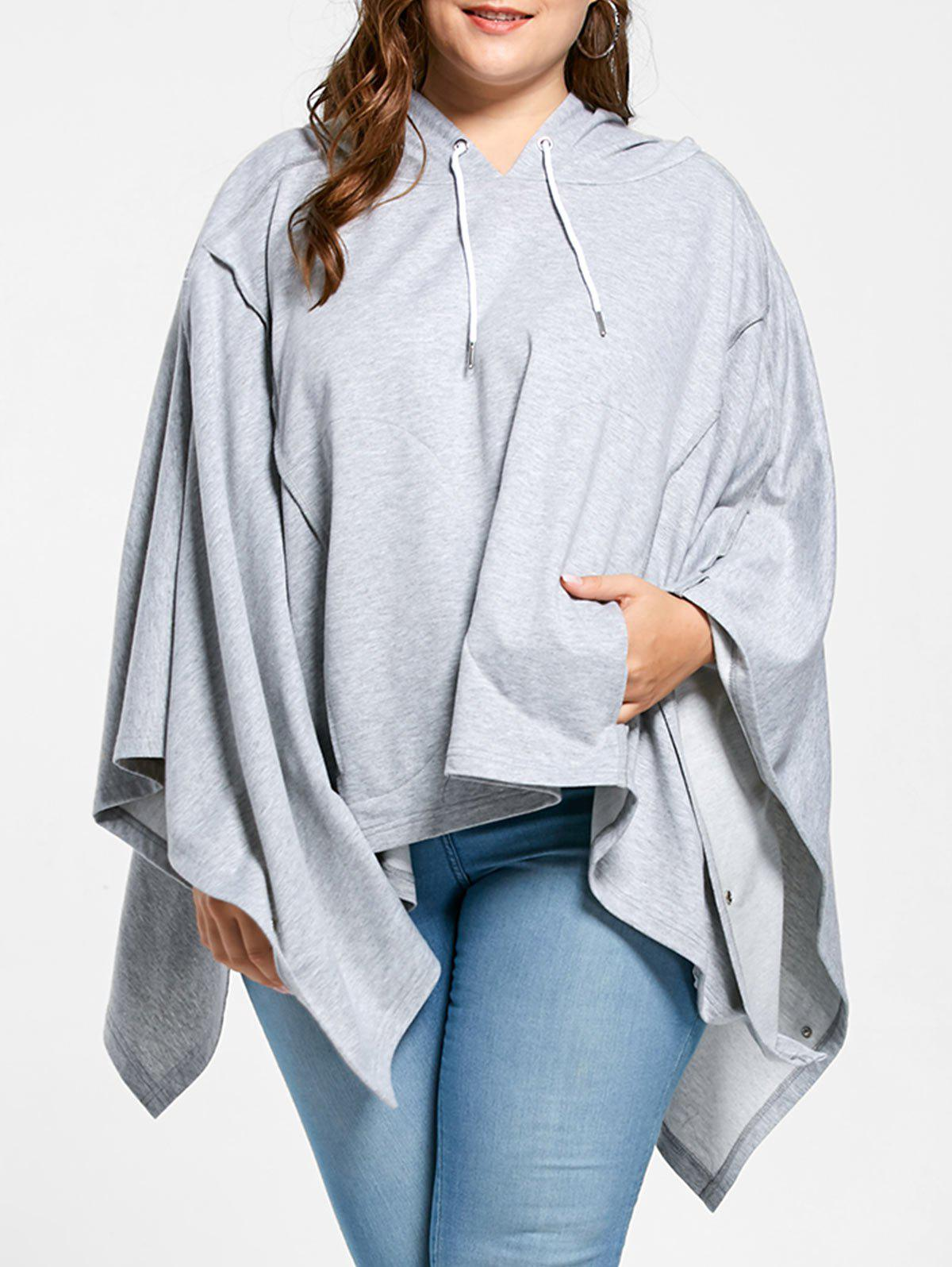 Cheap Plus Size Cloak Handkerchief Hem Hoodie