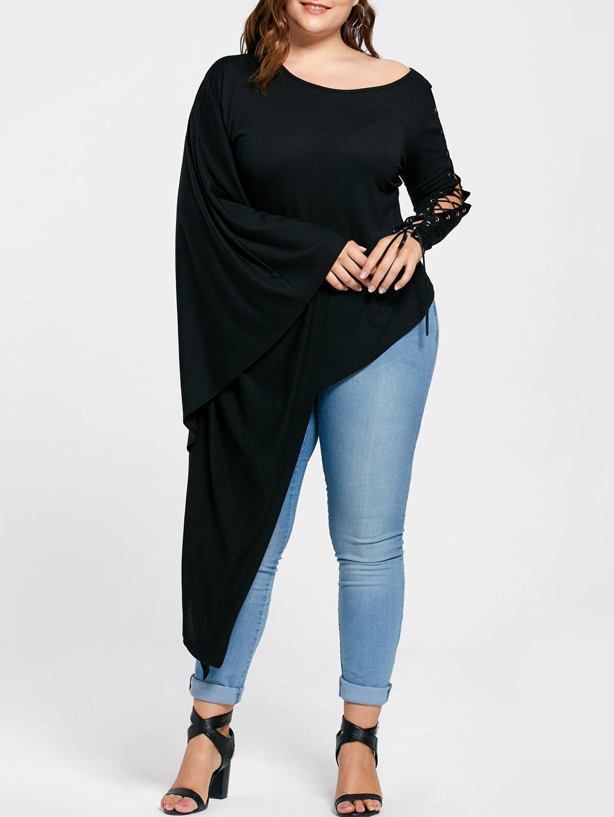 Plus Size Lace Up Batwing Sleeve Asymmetric TopWOMEN<br><br>Size: 4XL; Color: BLACK; Material: Polyester,Spandex; Shirt Length: Long; Sleeve Length: Full; Collar: Scoop Neck; Style: Novelty; Season: Fall,Spring,Summer; Pattern Type: Solid; Weight: 0.4000kg; Package Contents: 1 x T-shirt;