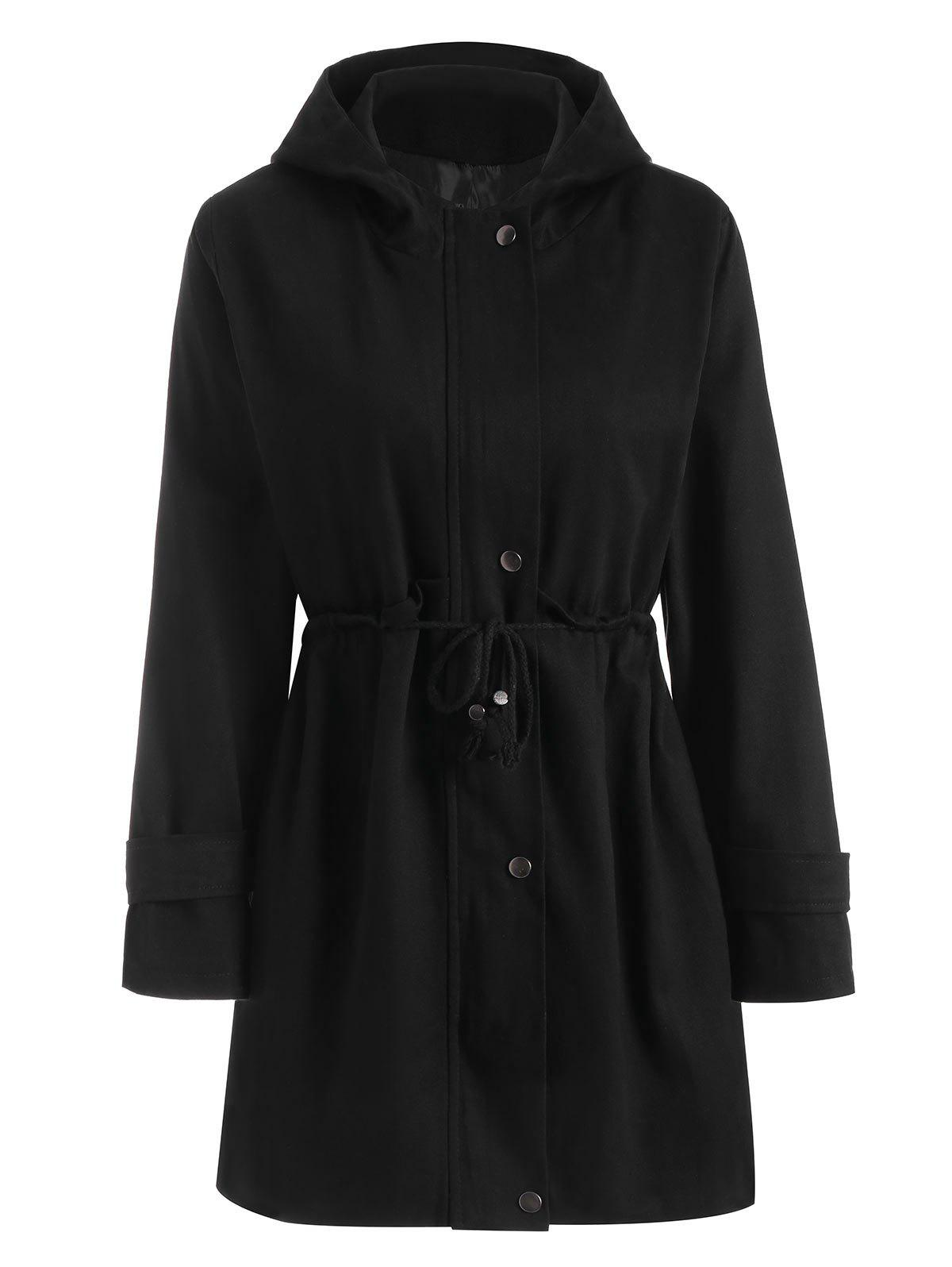 Hooded Zipper Drawstring Waist Plus Size CoatWOMEN<br><br>Size: 3XL; Color: BLACK; Clothes Type: Jackets; Material: Polyester; Type: Slim; Shirt Length: Long; Sleeve Length: Full; Collar: Hooded; Pattern Type: Solid; Style: Fashion; Season: Fall,Winter; Weight: 0.7100kg; Package Contents: 1 x Coat;