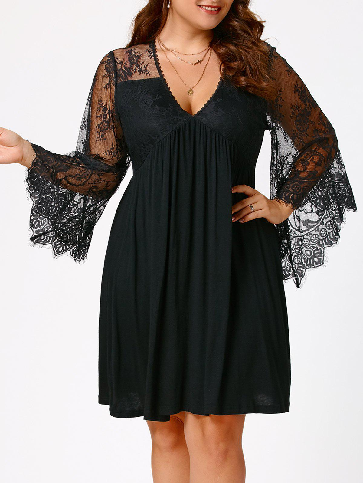 Plus Size Lace Sleeve Holiday DressWOMEN<br><br>Size: 3XL; Color: BLACK; Style: Brief; Material: Polyester,Spandex; Silhouette: A-Line; Dresses Length: Knee-Length; Neckline: V-Neck; Sleeve Type: Flare Sleeve; Sleeve Length: Long Sleeves; Waist: Empire; Embellishment: Lace,Panel; Pattern Type: Solid Color; Elasticity: Elastic; With Belt: No; Season: Fall,Spring,Summer; Weight: 0.3500kg; Package Contents: 1 x Dress;