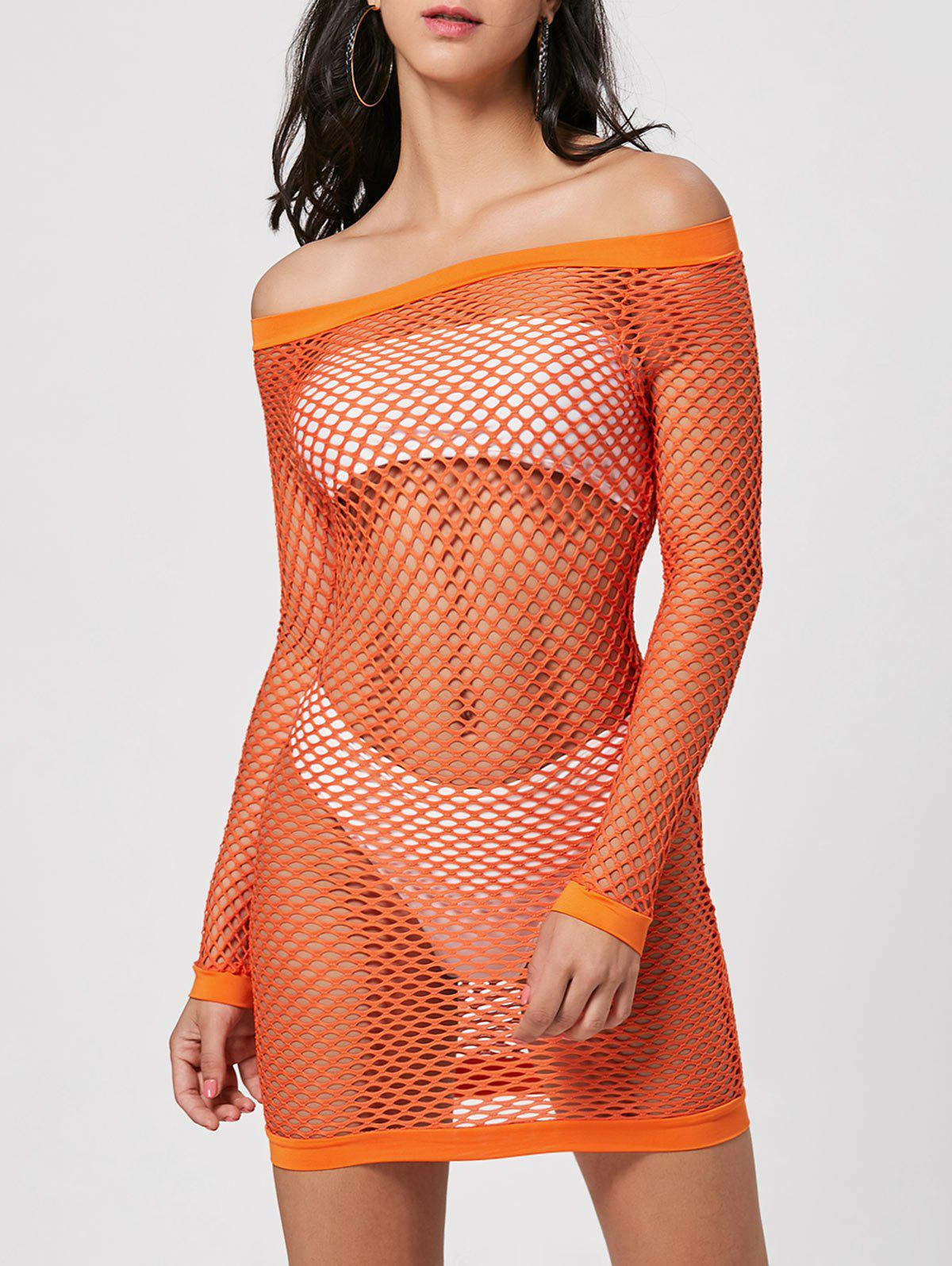 Shop Long Sleeve Off The Shoulder Sheer Hot Dress