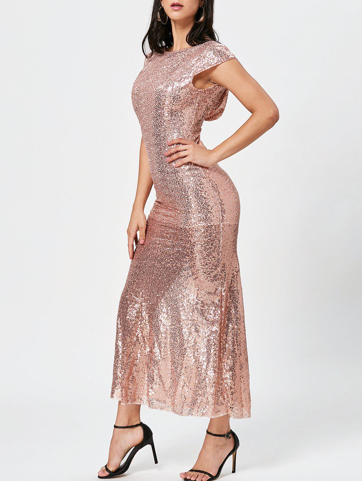 Unique Sexy Jewel Neck Short Sleeve Sequined Backless Dress For Women