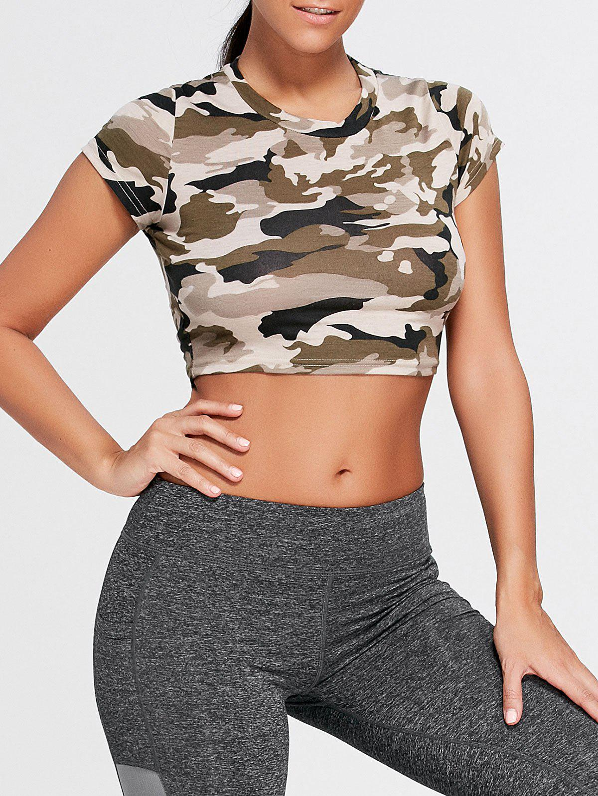 Shop Sports Camouflage Crew Neck Ripped Crop T-shirt