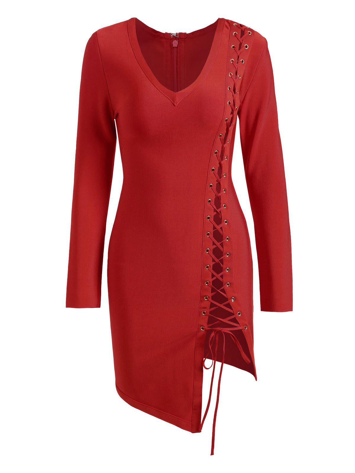 Cheap Long Sleeve Lace-up Asymmetric Bandage Dress