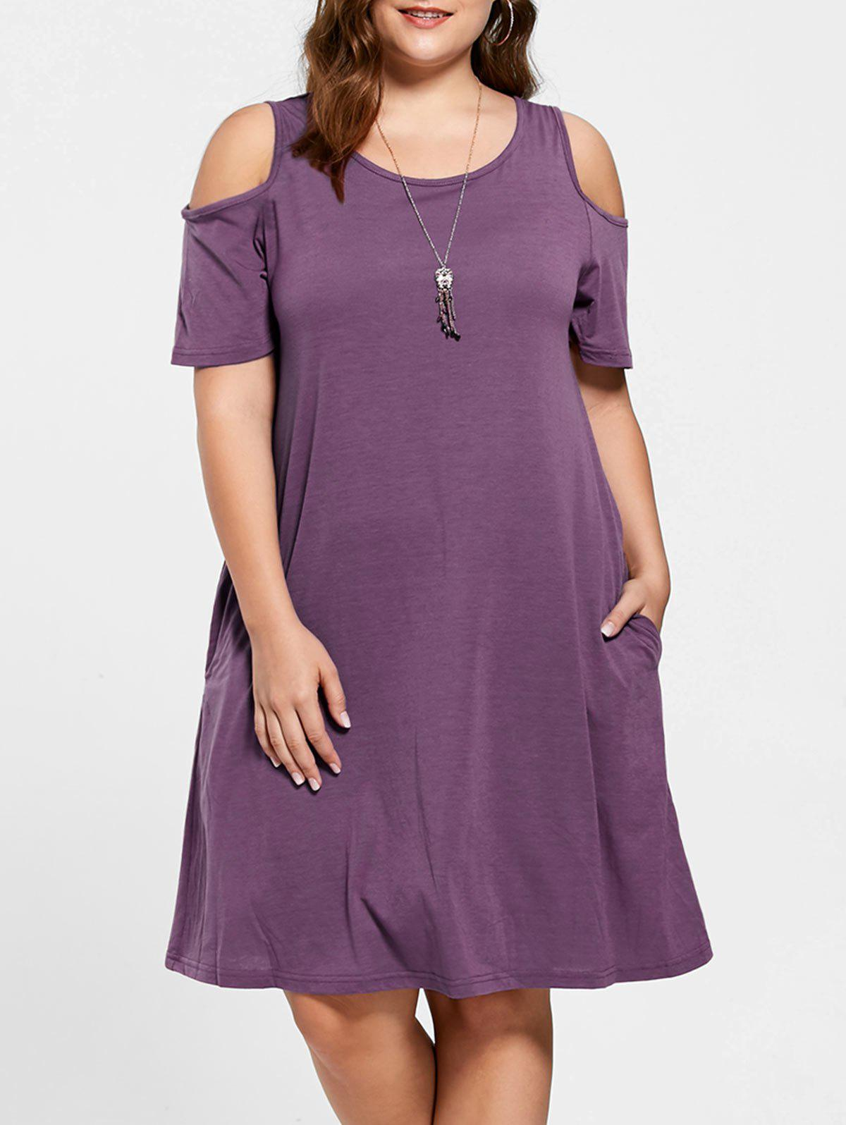20% OFF] Tunic Cold Shoulder Plus Size Dress | Rosegal
