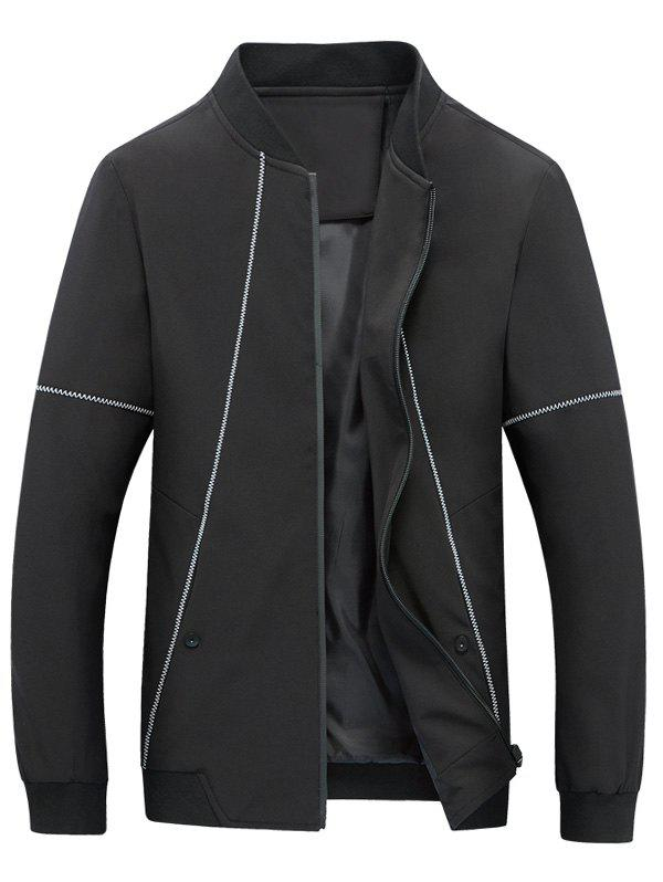 Outfits Suture Panel Stand Collar Zip Up Jacket