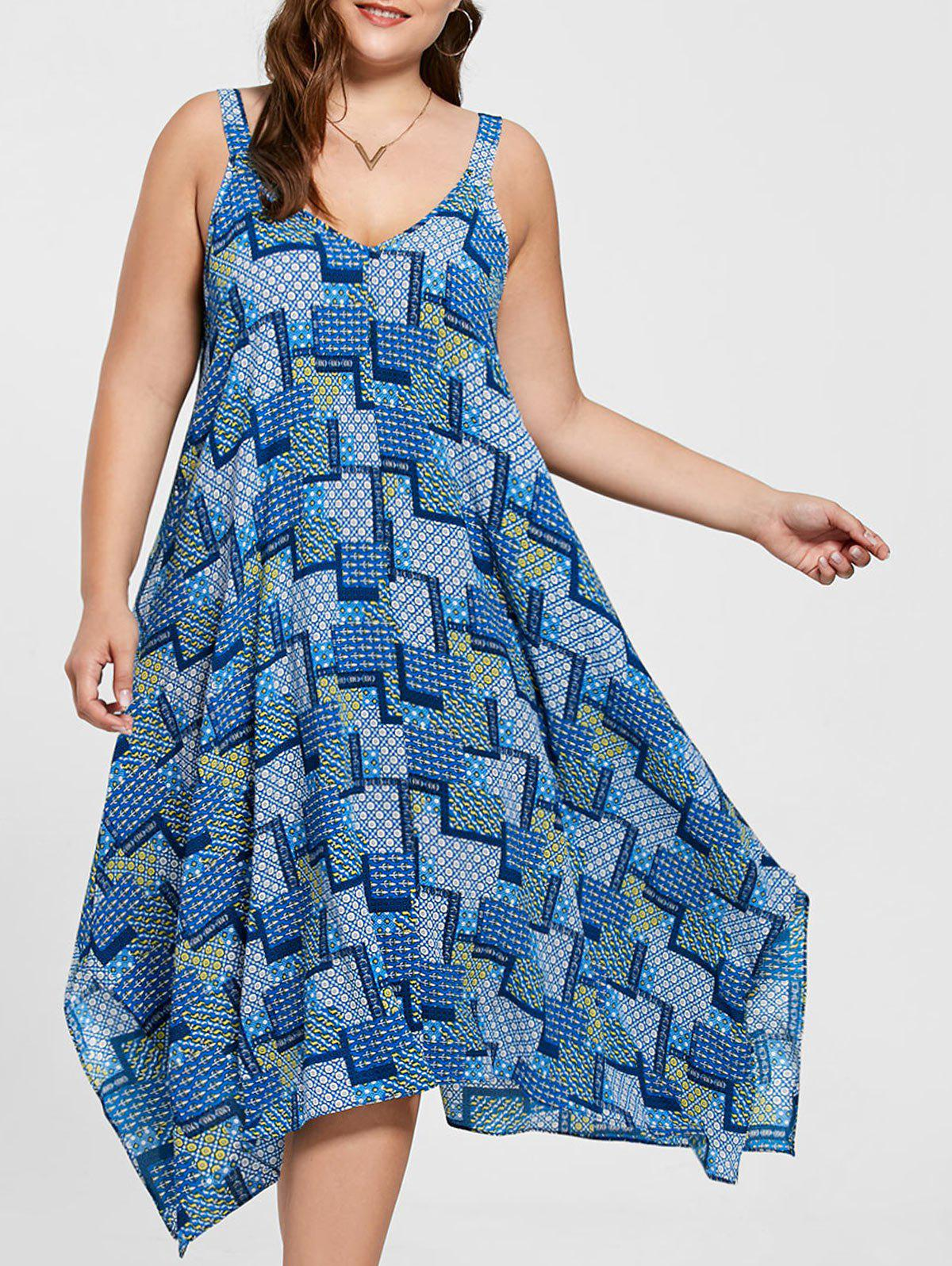 Spaghetti Strap Geometric Printed Plus Size Handkerchief DressWOMEN<br><br>Size: 5XL; Color: BLUE; Style: Casual; Material: Polyester; Silhouette: Asymmetrical; Dresses Length: Mid-Calf; Neckline: Spaghetti Strap; Sleeve Length: Sleeveless; Pattern Type: Geometric; With Belt: No; Season: Summer; Weight: 0.2700kg; Package Contents: 1 x Dress;