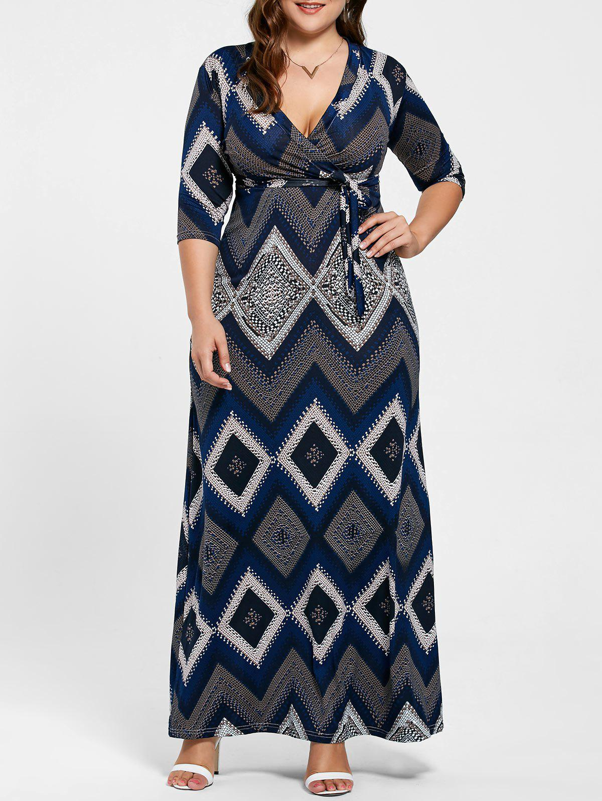 V Neck Geometric Print Long Plus Size DressWOMEN<br><br>Size: 3XL; Color: PURPLISH BLUE; Style: Brief; Material: Polyester; Silhouette: A-Line; Dresses Length: Floor-Length; Neckline: V-Neck; Sleeve Length: Half Sleeves; Pattern Type: Geometric,Print; With Belt: Yes; Season: Summer; Weight: 0.3700kg; Package Contents: 1 x Dress  1 x Belt;