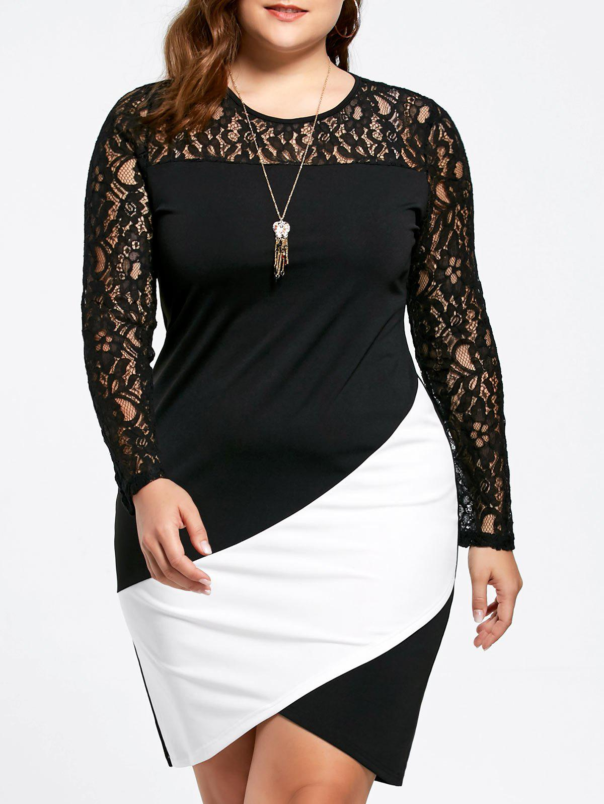 Asymmetric Plus Size Lace Sleeve DressWOMEN<br><br>Size: XL; Color: WHITE AND BLACK; Style: Brief; Material: Lace,Polyester; Silhouette: Bodycon; Dresses Length: Knee-Length; Neckline: Round Collar; Sleeve Length: Long Sleeves; Embellishment: Lace,Panel; Pattern Type: Others; With Belt: No; Season: Fall,Spring; Weight: 0.3200kg; Package Contents: 1 x Dress;