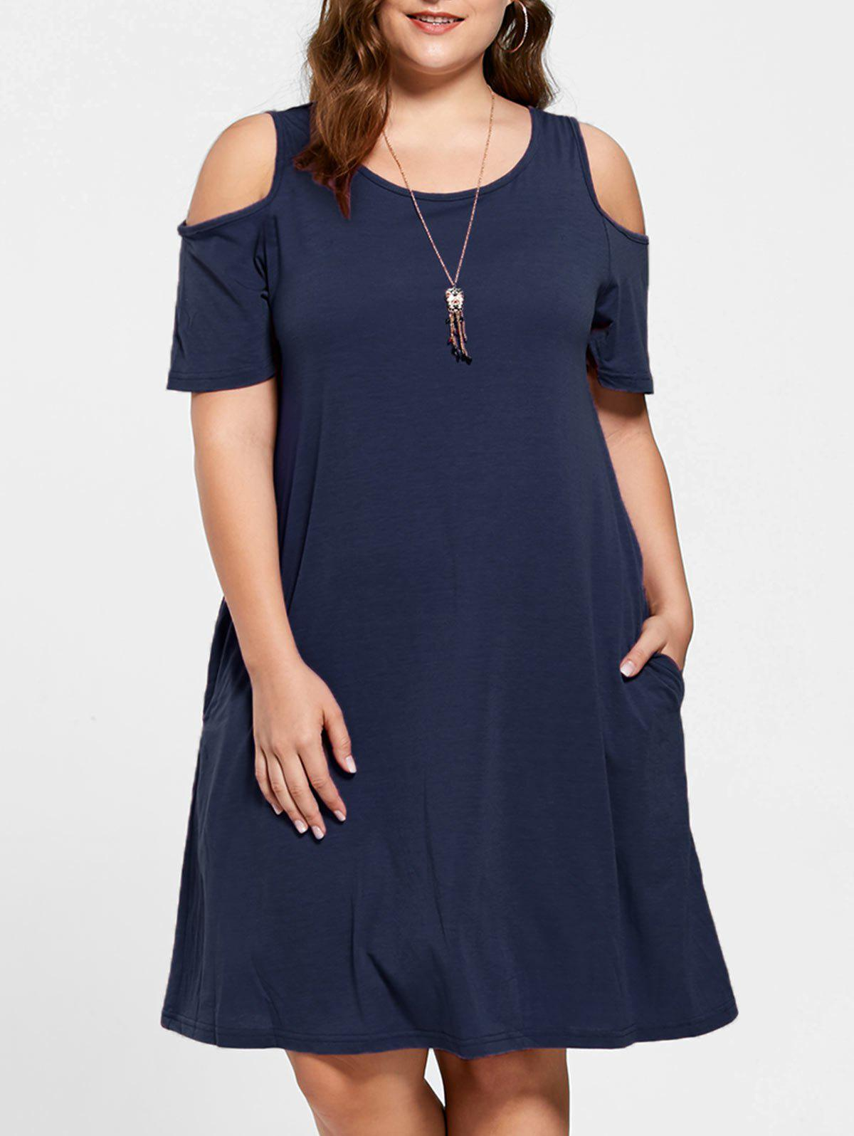 Tunic Cold Shoulder Plus Size DressWOMEN<br><br>Size: 7XL; Color: PURPLISH BLUE; Style: Casual; Material: Cotton,Polyester; Silhouette: A-Line; Dresses Length: Knee-Length; Neckline: Round Collar; Sleeve Length: Short Sleeves; Pattern Type: Solid; With Belt: No; Season: Fall,Summer; Weight: 0.3000kg; Package Contents: 1 x Dress;