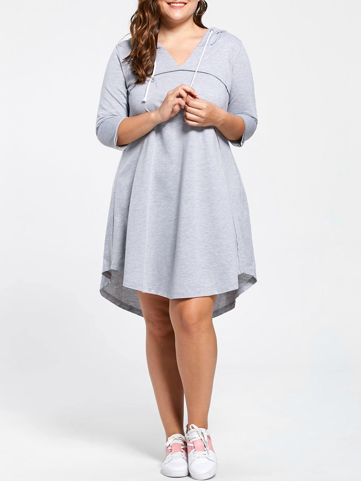 Plus Size Hooded Drawstring Neck Jersey Dress