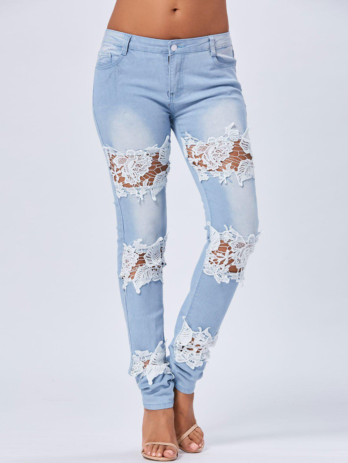Skinny Lace Trim Light Wash JeansWOMEN<br><br>Size: XL; Color: BLUE; Material: Polyester; Length: Normal; Wash: Light; Fit Type: Regular; Closure Type: Zipper Fly; Weight: 0.5050kg; Package Contents: 1 x Jeans;