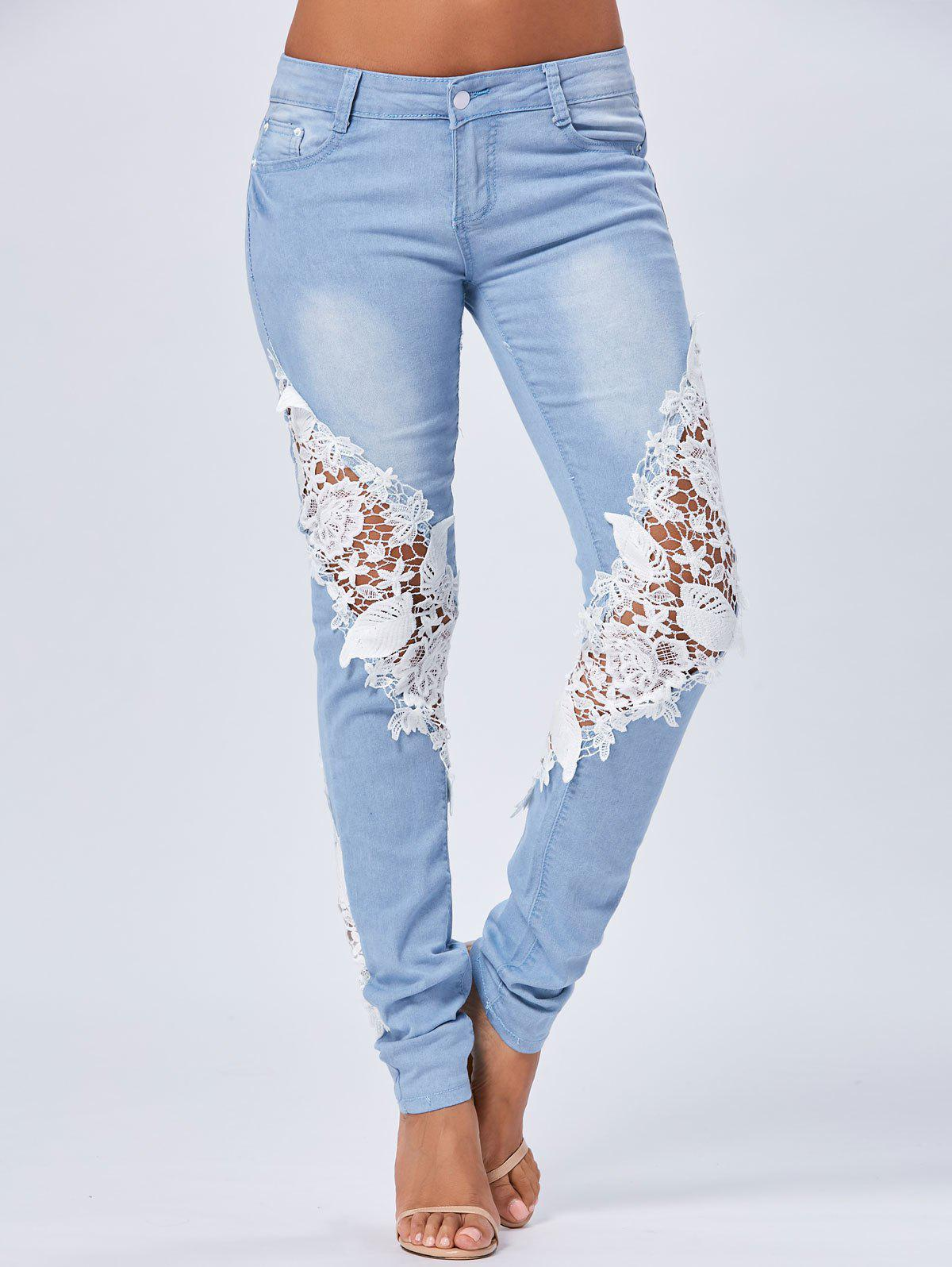 Lace Insert Staright JeansWOMEN<br><br>Size: S; Color: BLUE; Material: Polyester; Length: Normal; Wash: Light; Fit Type: Regular; Embellishment: Lace; Weight: 0.5150kg; Package Contents: 1 x Jeans;
