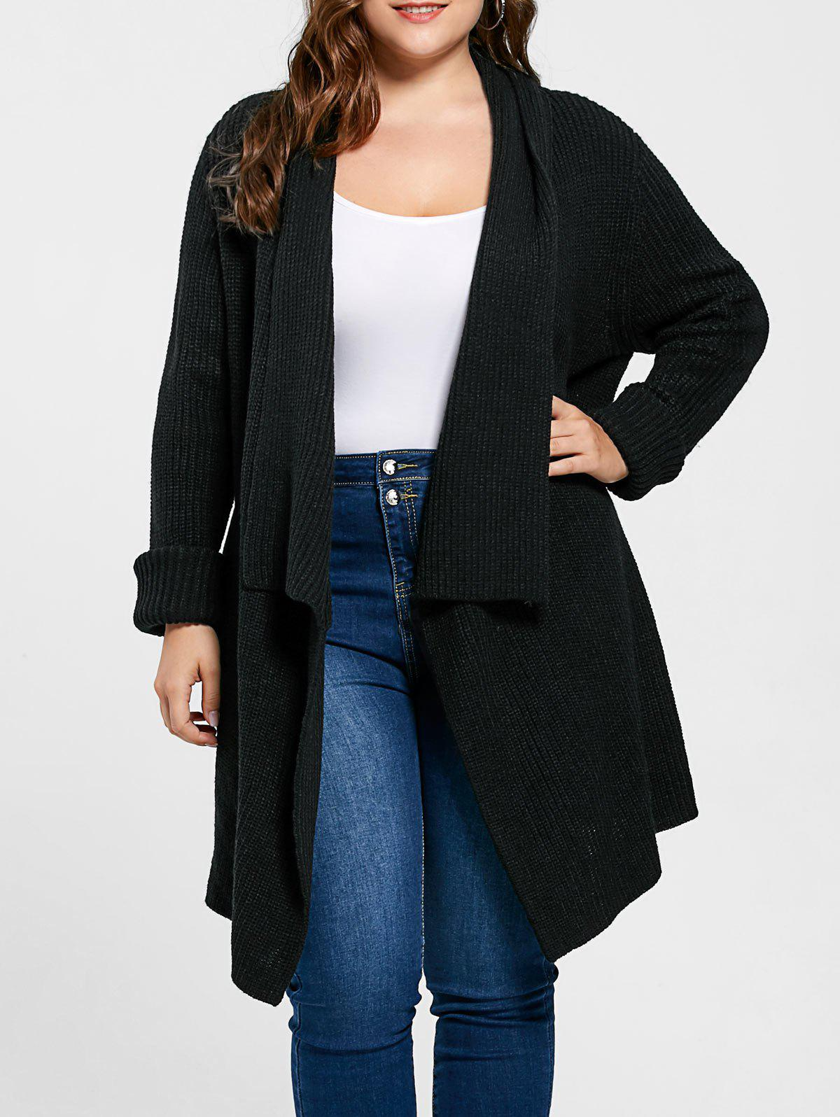 Plus Size Longline Ribbed Drape CardiganWOMEN<br><br>Size: 2XL; Color: BLACK; Type: Cardigans; Material: Acrylic; Sleeve Length: Full; Collar: Turn-down Collar; Style: Casual; Season: Fall,Spring; Pattern Type: Solid; Weight: 0.5000kg; Package Contents: 1 x Cardigan;
