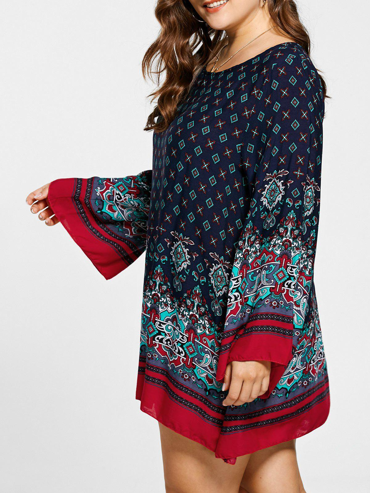 Plus Size Bell Sleeve Mini Bohemian DresWOMEN<br><br>Size: 5XL; Color: CERULEAN; Style: Bohemian; Material: Rayon; Silhouette: Straight; Dresses Length: Mini; Neckline: Scoop Neck; Sleeve Length: Long Sleeves; Pattern Type: Tribal Print; With Belt: No; Season: Fall,Spring,Summer; Weight: 0.3000kg; Package Contents: 1 x Dress;