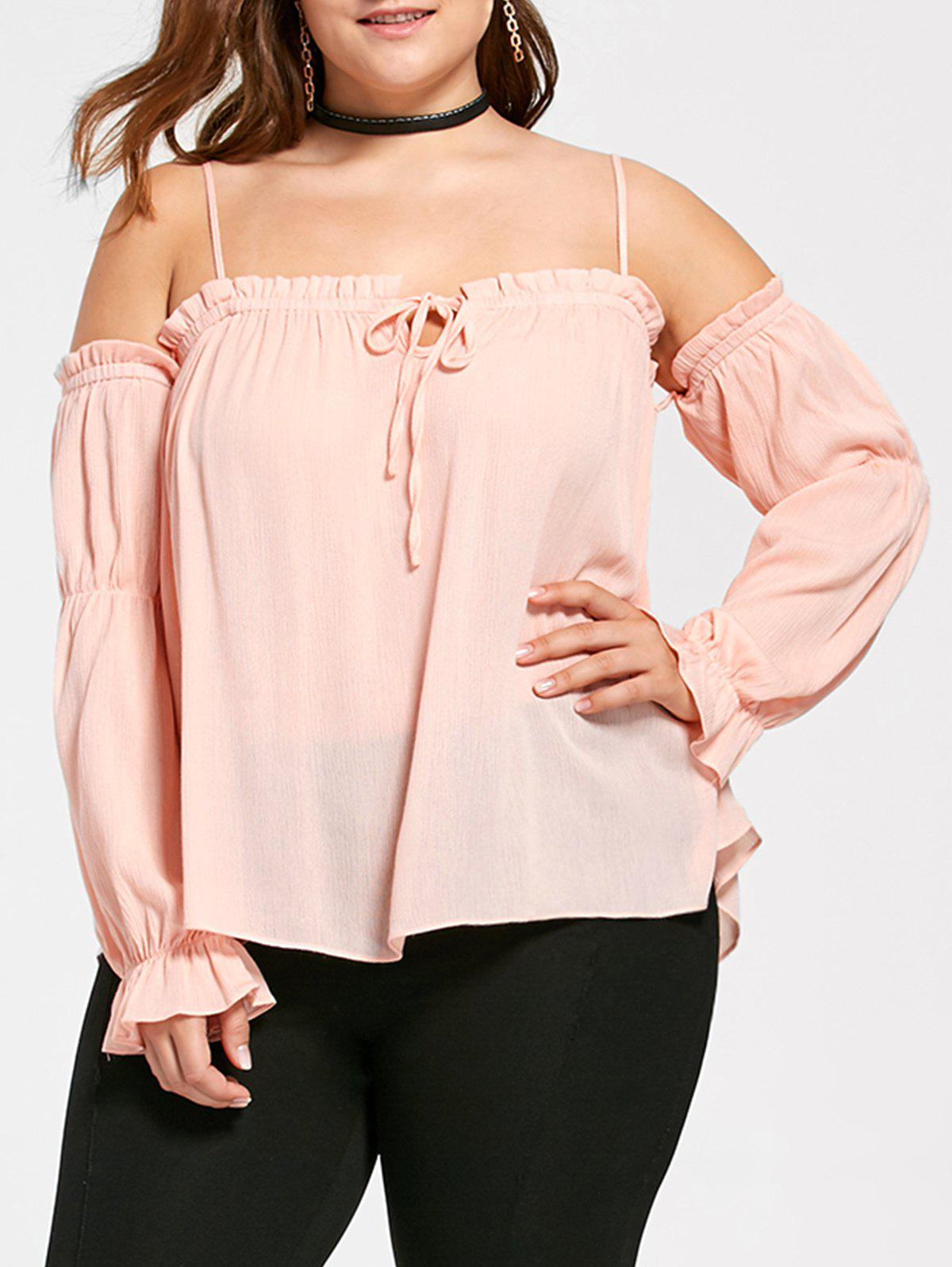 Plus Size Flounced Dew Shoulder BlouseWOMEN<br><br>Size: 2XL; Color: ORANGEPINK; Material: Rayon,Spandex; Shirt Length: Regular; Sleeve Length: Full; Collar: Spaghetti Strap; Style: Lolita; Season: Fall,Spring,Summer; Pattern Type: Solid; Weight: 0.2400kg; Package Contents: 1 x Blouse;