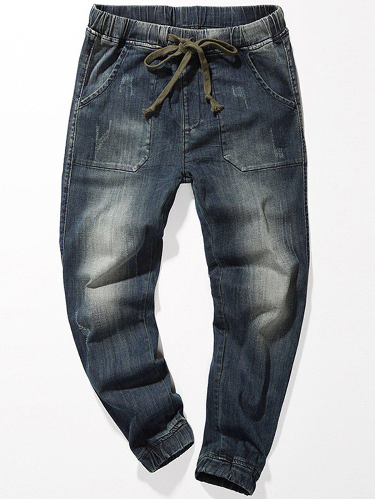 Drawstring Denim Jogger JeansMEN<br><br>Size: 34; Color: BLUE; Material: Cotton,Jean,Spandex; Pant Length: Long Pants; Fabric Type: Denim; Wash: Dark; Fit Type: Straight; Waist Type: Mid; Closure Type: Drawstring; Weight: 0.6000kg; Pant Style: Straight; Package Contents: 1 x Jeans; With Belt: No;
