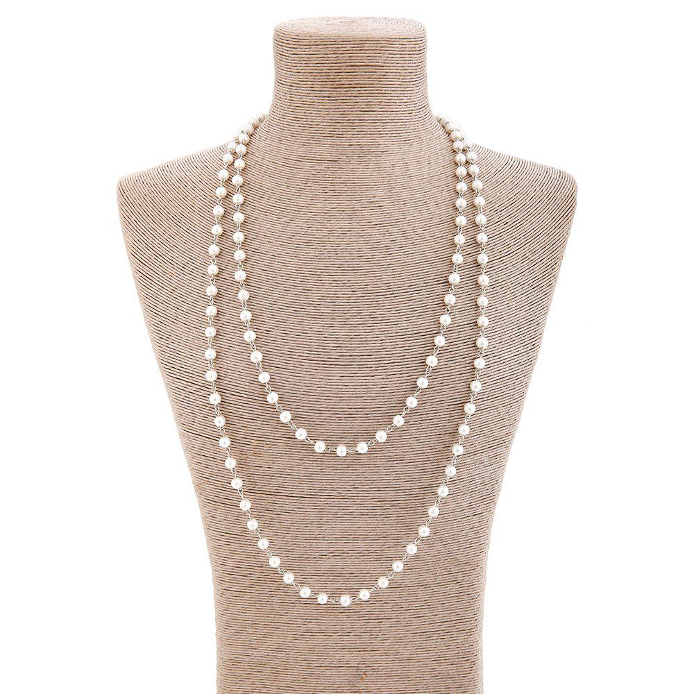 Artificial Pearl Statement Sweater ChainJEWELRY<br><br>Color: SILVER; Gender: For Women; Style: Noble and Elegant; Shape/Pattern: Solid; Weight: 0.0700kg; Package Contents: 1 x Sweater Chain;
