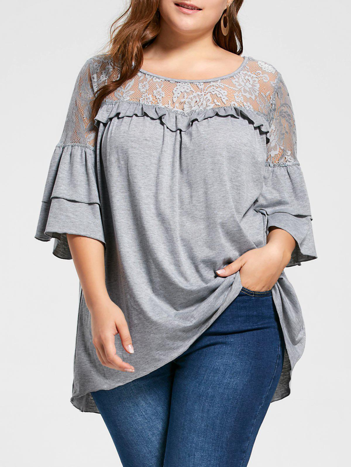 Plus Size Lace Yoke Flounced Tunic TopWOMEN<br><br>Size: 2XL; Color: LIGHT GRAY; Material: Polyester,Spandex; Shirt Length: Long; Sleeve Length: Three Quarter; Collar: Round Neck; Style: Casual; Season: Fall,Spring,Summer; Embellishment: Lace; Pattern Type: Solid; Weight: 0.3200kg; Package Contents: 1 x Top;