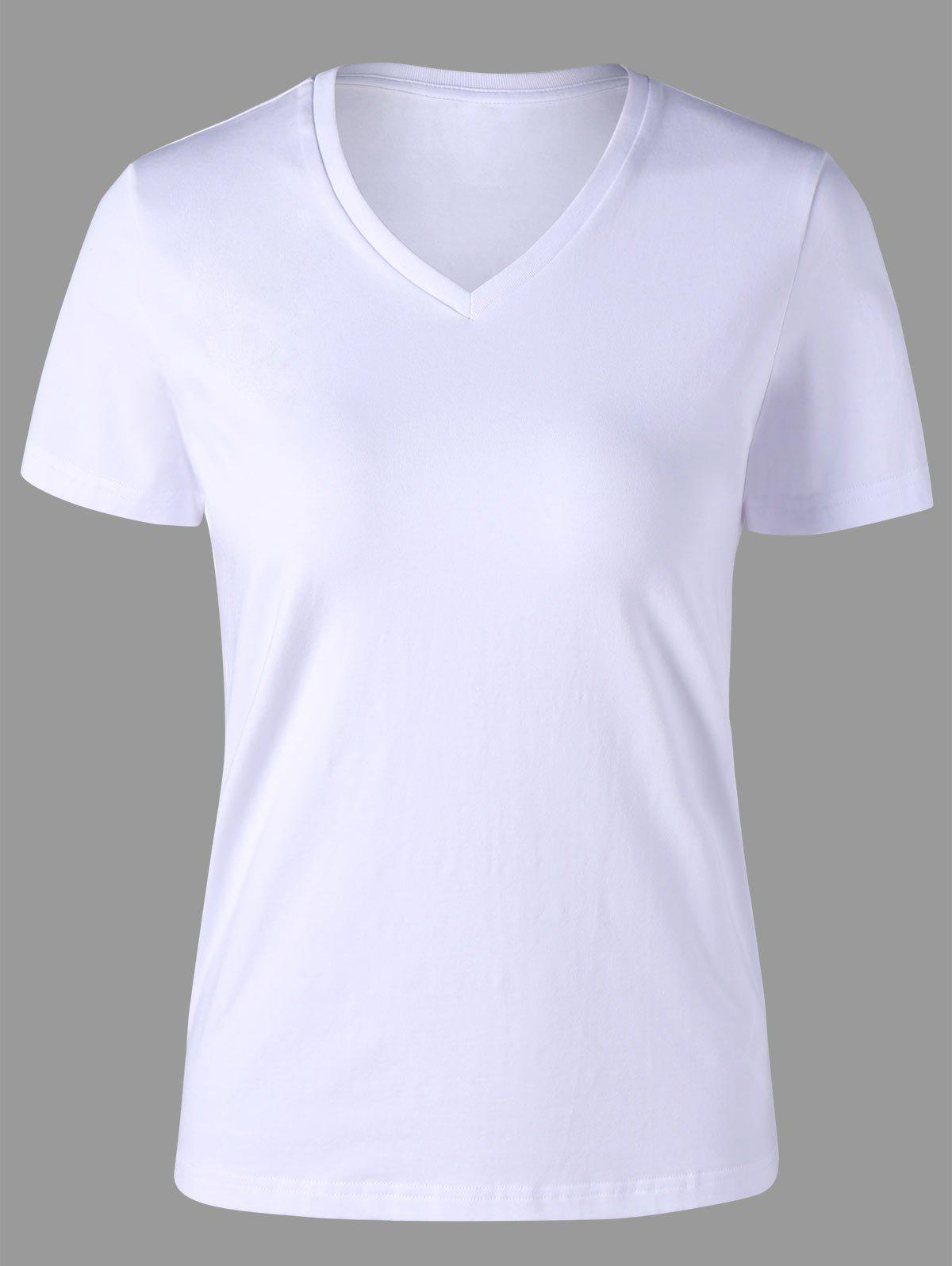 Online V Neck Slim Basic T-shirt