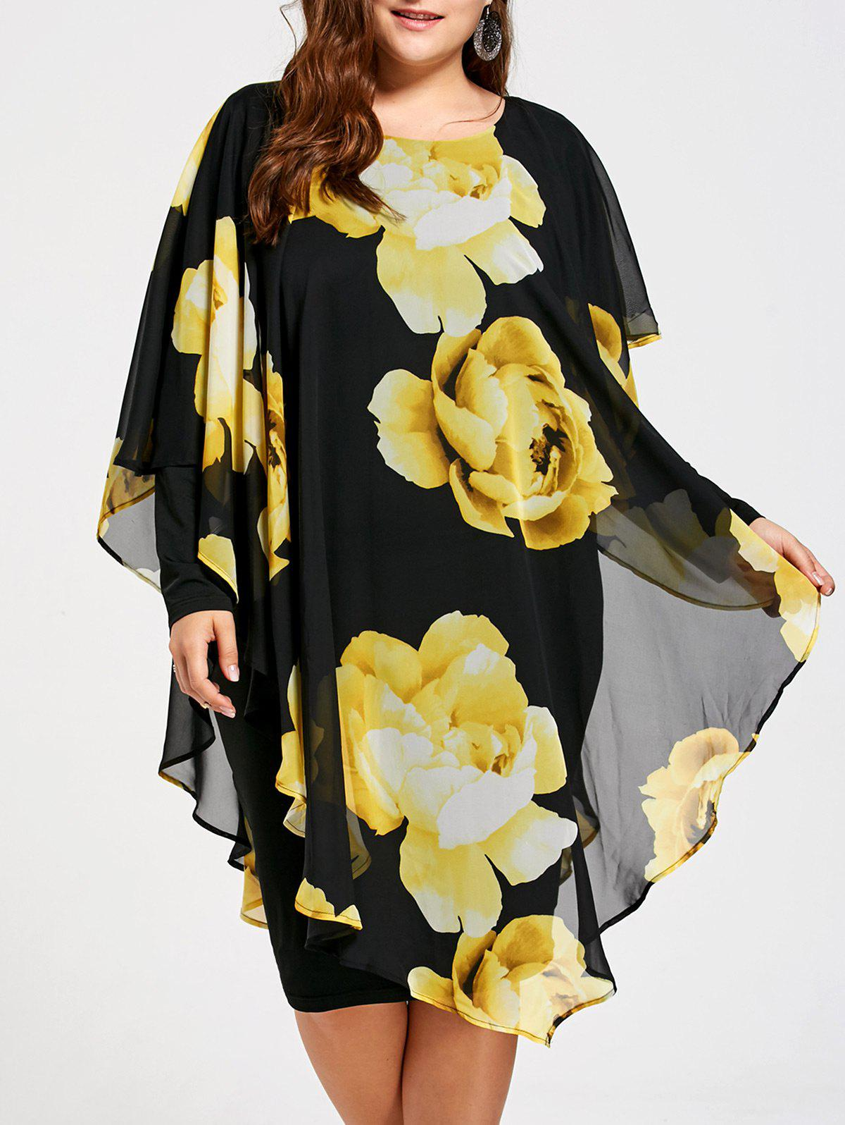 Formal Floral Plus Size Chiffon DressWOMEN<br><br>Size: 3XL; Color: COLORMIX; Style: Cute; Material: Polyester,Spandex; Silhouette: Sheath; Dresses Length: Knee-Length; Neckline: Round Collar; Sleeve Length: Long Sleeves; Pattern Type: Floral; With Belt: No; Season: Fall,Spring; Weight: 0.4700kg; Package Contents: 1 x Dress;