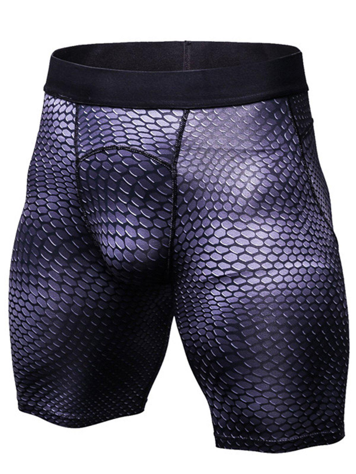 Unique Fitted 3D Geometric Print Gym Shorts