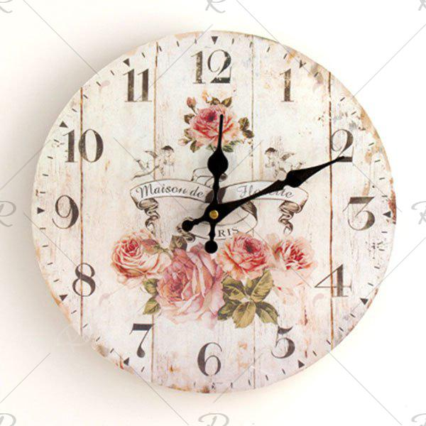 Flower Round Analog Wood Wall ClockHOME<br><br>Size: 30*30CM; Color: WHITE; Clock Type: Wall Clocks; Time Display: Analog; Style: Europe; Theme: Floral/Botanicals; Material: Wood; Weight: 0.3844kg; Package Contents: 1 x Clock;