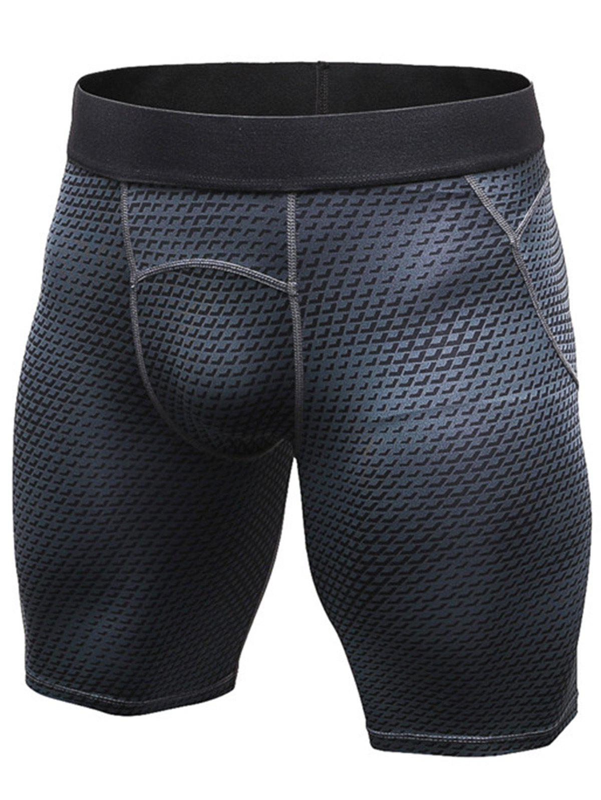 3D Geometric Print Quick Dry Fitted Gym ShortsMEN<br><br>Size: L; Color: BLACK; Type: Shorts; Material: Polyester,Spandex; Pattern Type: Geometric; Elasticity: Elastic; Weight: 0.1900kg; Package Contents: 1 x Shorts;