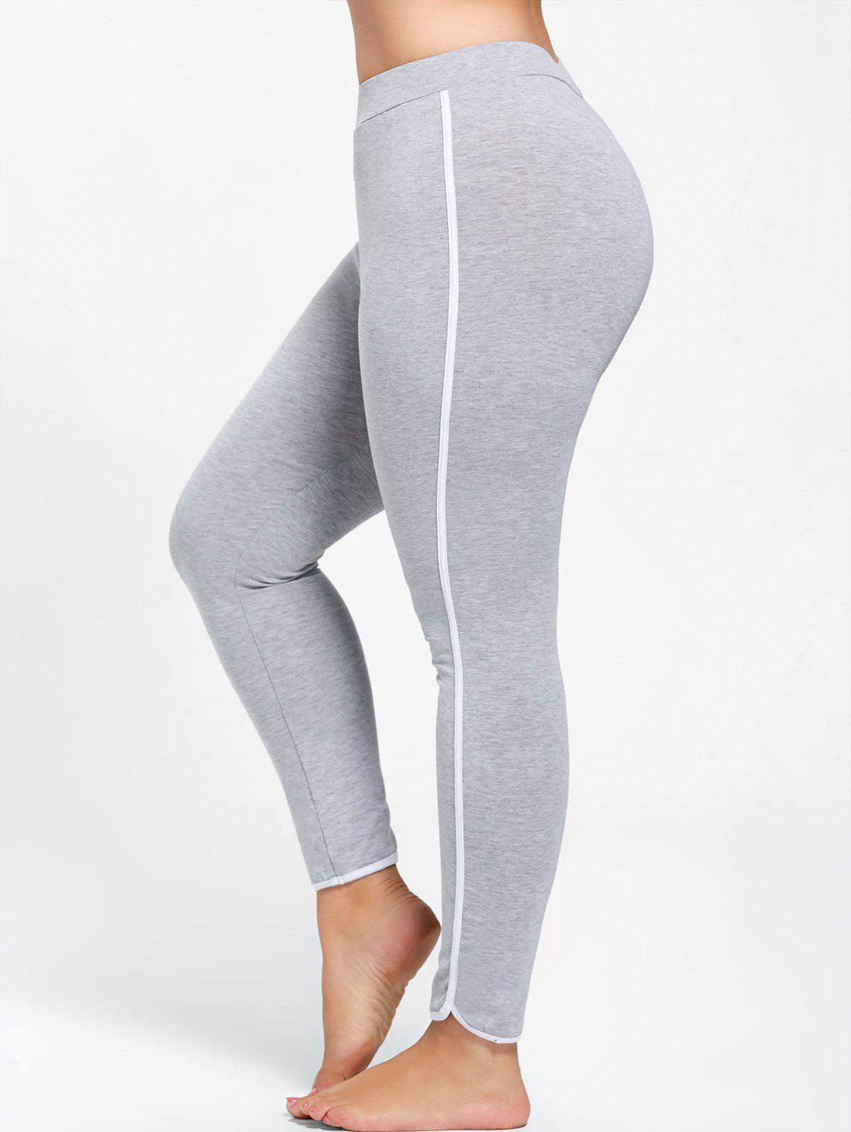 Single Stripe Plus Size Skinny LeggingsWOMEN<br><br>Size: 5XL; Color: GRAY; Style: Active; Length: Normal; Material: Cotton,Spandex; Fit Type: Regular; Waist Type: Mid; Closure Type: Elastic Waist; Pattern Type: Others; Pant Style: Pencil Pants; Weight: 0.2700kg; Package Contents: 1 x Leggings;