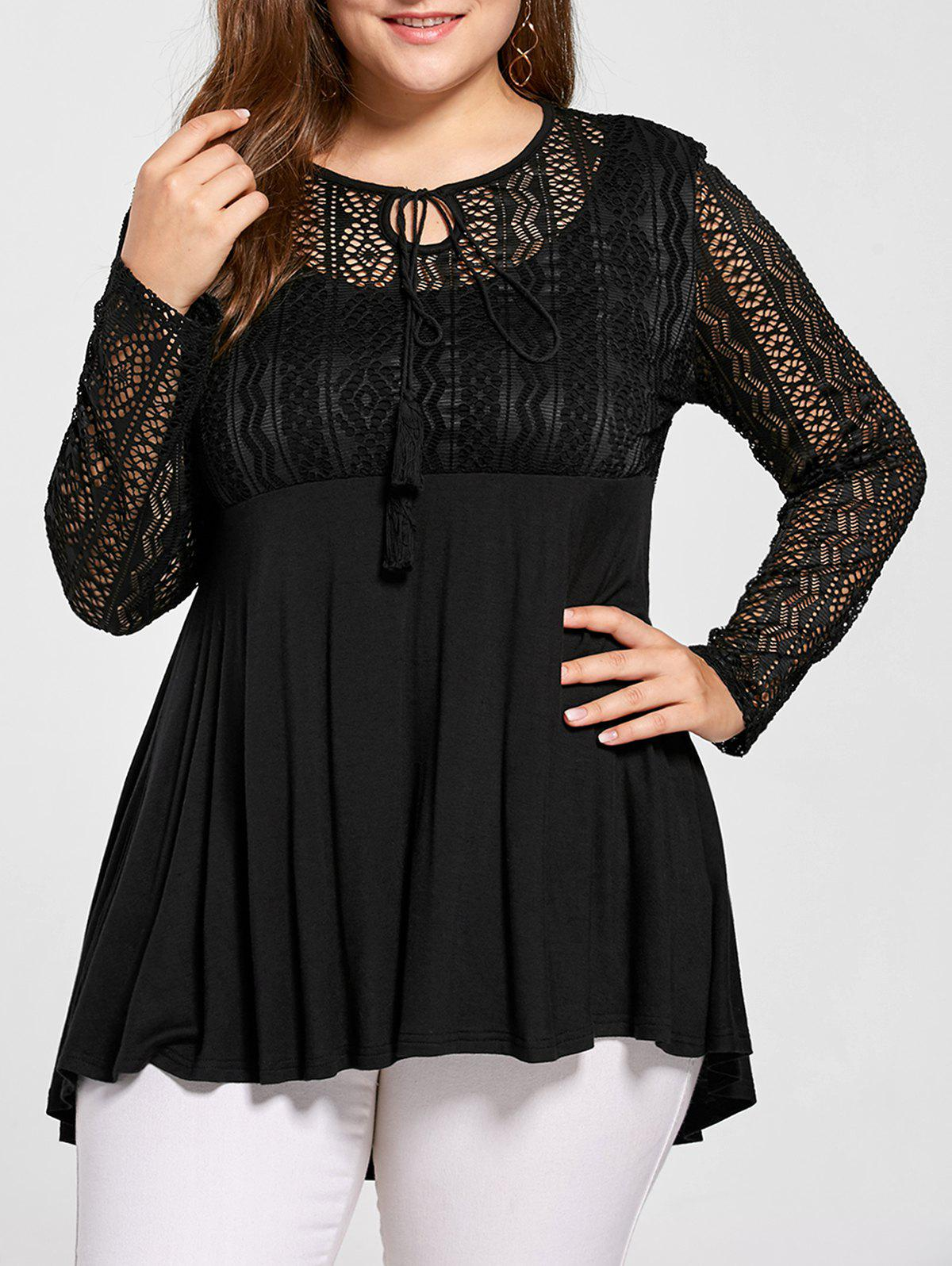 Plus Size Lace Trim Peplum TopWOMEN<br><br>Size: 4XL; Color: BLACK; Material: Rayon,Spandex; Shirt Length: Long; Sleeve Length: Full; Collar: Keyhole Neck; Style: Fashion; Season: Fall,Spring,Summer; Pattern Type: Others; Weight: 0.3400kg; Package Contents: 1 x Blouse;