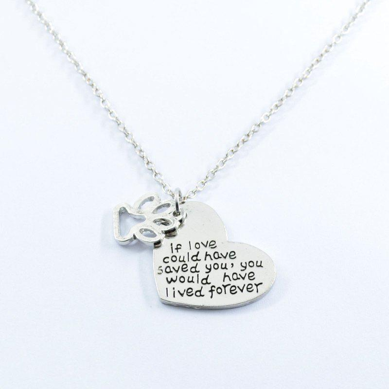 Love Heart Footprint Claw Pendant NecklaceJEWELRY<br><br>Color: SILVER; Item Type: Pendant Necklace; Gender: For Women; Necklace Type: Link Chain; Style: Trendy; Shape/Pattern: Heart; Length: 50CM; Weight: 0.0300kg; Package Contents: 1 x Necklace;