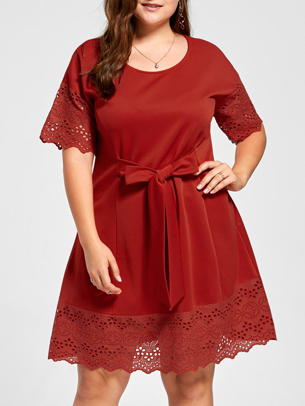Plus Size Bowknot Embellished Broderie DressWOMEN<br><br>Size: 4XL; Color: RED; Style: Brief; Material: Polyester; Silhouette: A-Line; Dresses Length: Knee-Length; Neckline: Round Collar; Sleeve Length: Short Sleeves; Pattern Type: Solid Color; With Belt: No; Season: Fall,Spring,Summer; Weight: 0.4400kg; Package Contents: 1 x Dress;
