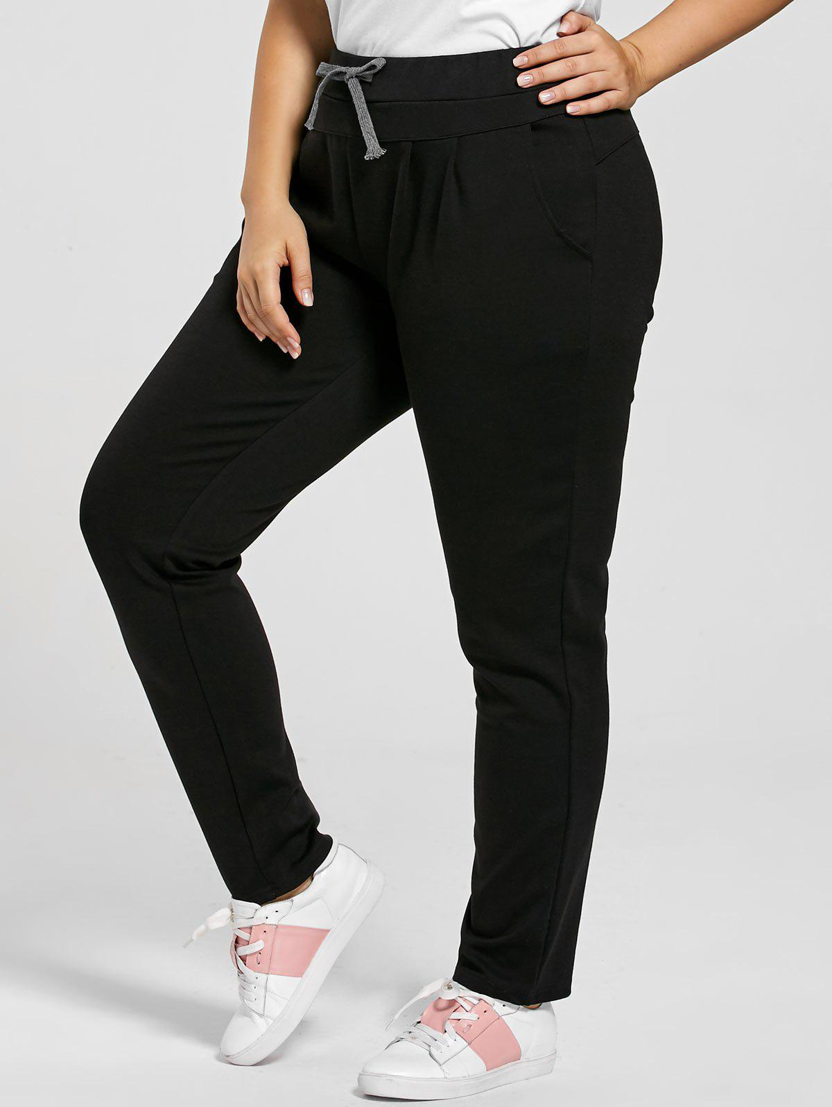 Drawstring Waist Skinny Plus Size PantsWOMEN<br><br>Size: 5XL; Color: BLACK; Style: Casual; Length: Normal; Material: Polyester; Fit Type: Regular; Waist Type: Mid; Closure Type: Drawstring; Pattern Type: Solid; Pant Style: Pencil Pants; Weight: 0.6400kg; Package Contents: 1 x Pants;