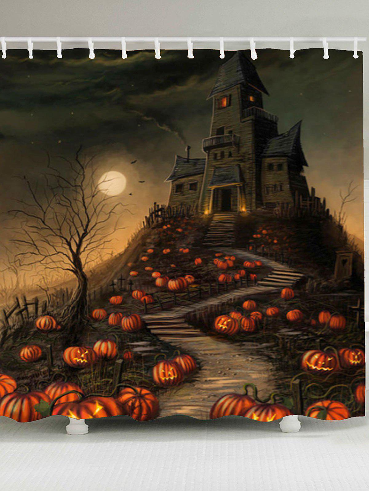 Waterproof Halloween Pumpkin Castle Print Shower CurtainHOME<br><br>Size: W79 INCH * L71 INCH; Color: COLORFUL; Products Type: Shower Curtains; Materials: Polyester; Pattern: Pumpkin; Style: Festival; Number of Hook Holes: W59 inch*L71 inch: 10; W65 inch*L71 inch: 12; W71 inch*L71 inch: 12; W79 inch*L71 inch: 12; Package Contents: 1 x Shower Curtain 1 x Hooks (Set);