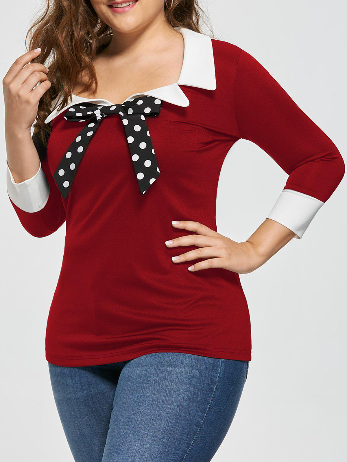 Plus Size Bow Tie Two Tone Longline BlouseWOMEN<br><br>Size: 3XL; Color: RED; Material: Polyester,Spandex; Shirt Length: Long; Sleeve Length: Three Quarter; Collar: Bow Tie Collar; Style: Fashion; Season: Fall,Spring,Summer; Embellishment: Bowknot; Pattern Type: Polka Dot; Weight: 0.3000kg; Package Contents: 1 x Blouse;