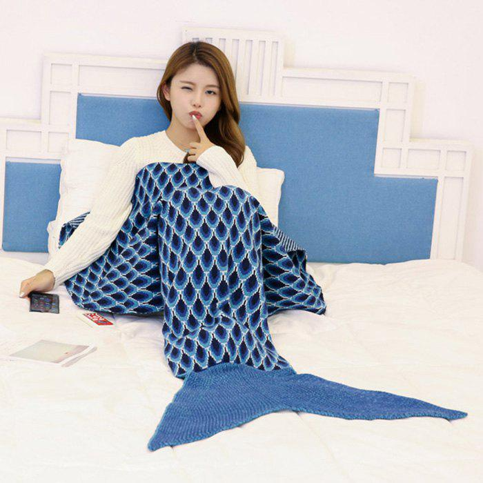 Discount Knitted Peacock Pattern Mermaid Tail Blanket Throw