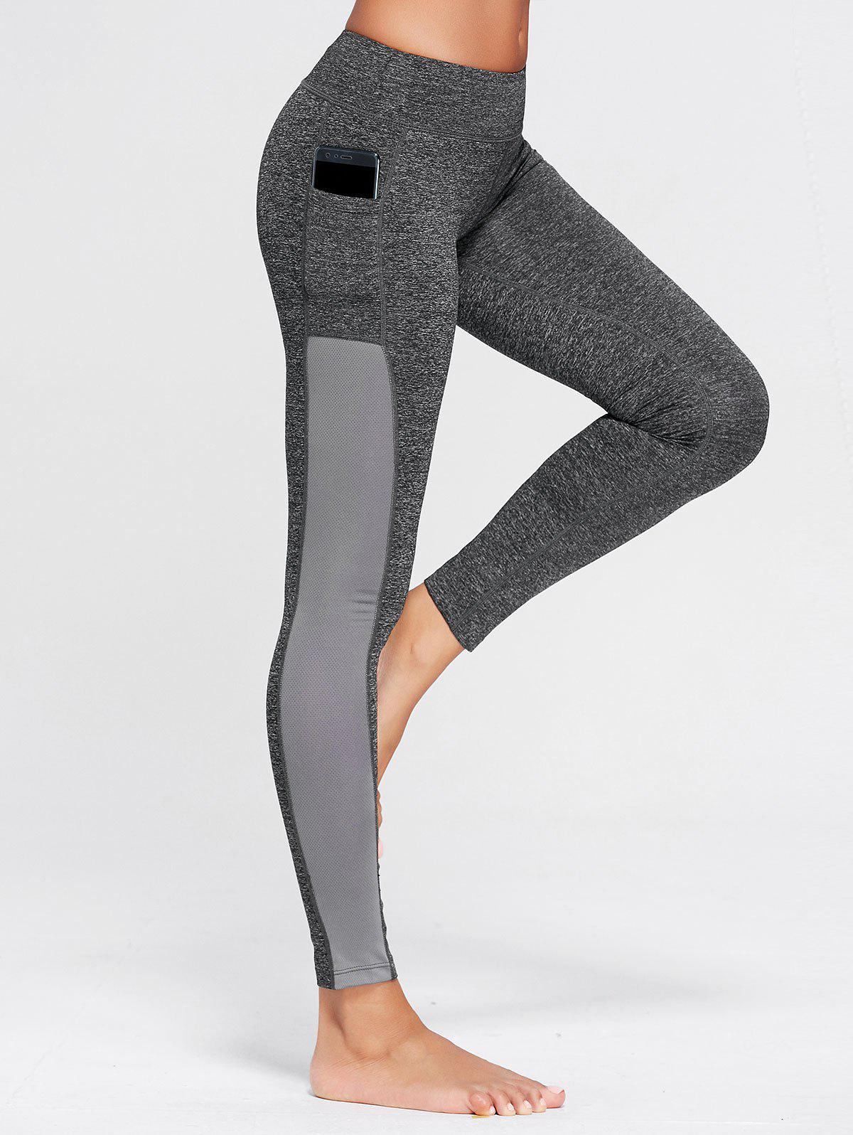 Stretchy Side Pocket Workout LeggingsWOMEN<br><br>Size: S; Color: GRAY; Style: Active; Length: Ninth; Material: Cotton Blends,Polyester,Spandex; Fit Type: Skinny; Waist Type: High; Closure Type: Elastic Waist; Pattern Type: Others; Pant Style: Pencil Pants; Elasticity: Elastic; Weight: 0.2400kg; Package Contents: 1 x Leggings;
