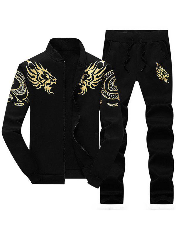 Dragon Totem Print Jacket and Sweatpants SuitMEN<br><br>Size: 2XL; Color: BLACK; Clothes Type: Jackets; Style: Active; Material: Polyester; Collar: Stand Collar; Shirt Length: Regular; Sleeve Length: Long Sleeves; Season: Fall,Winter; Weight: 0.7800kg; Package Contents: 1 x Jacket  1 x Pants;