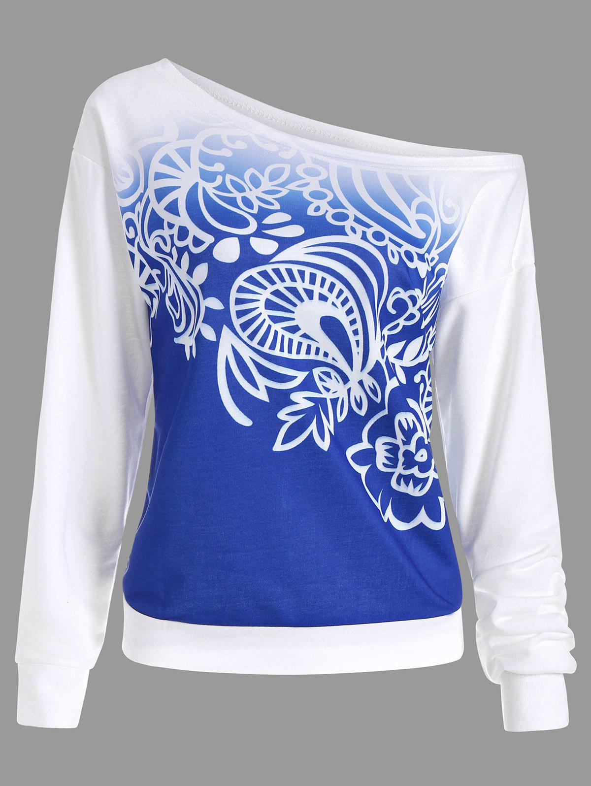 Printed Ombre Long Sleeve SweatshirtWOMEN<br><br>Size: S; Color: BLUE; Material: Polyester; Shirt Length: Regular; Sleeve Length: Full; Style: Fashion; Pattern Style: Print; Season: Fall,Winter; Weight: 0.4500kg; Package Contents: 1 x Sweatshirt;