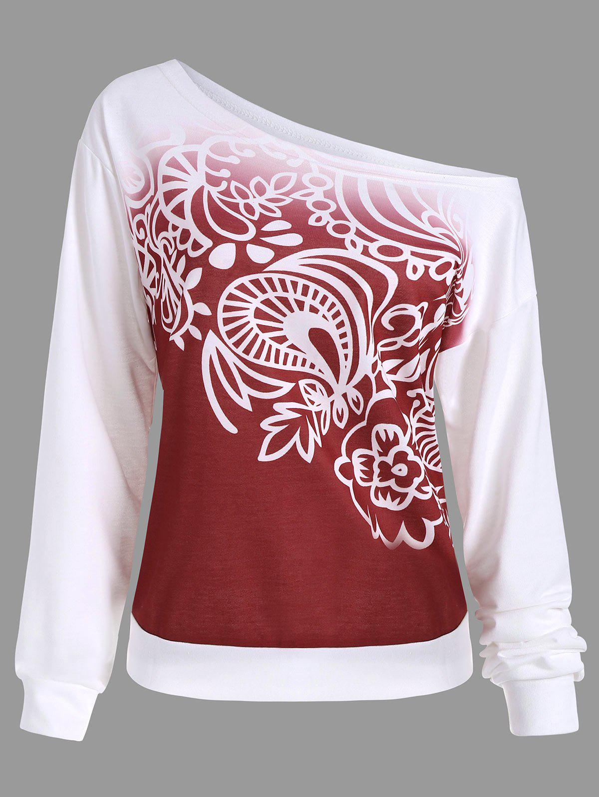 Printed Ombre Long Sleeve SweatshirtWOMEN<br><br>Size: M; Color: RED; Material: Polyester; Shirt Length: Regular; Sleeve Length: Full; Style: Fashion; Pattern Style: Print; Season: Fall,Winter; Weight: 0.4500kg; Package Contents: 1 x Sweatshirt;