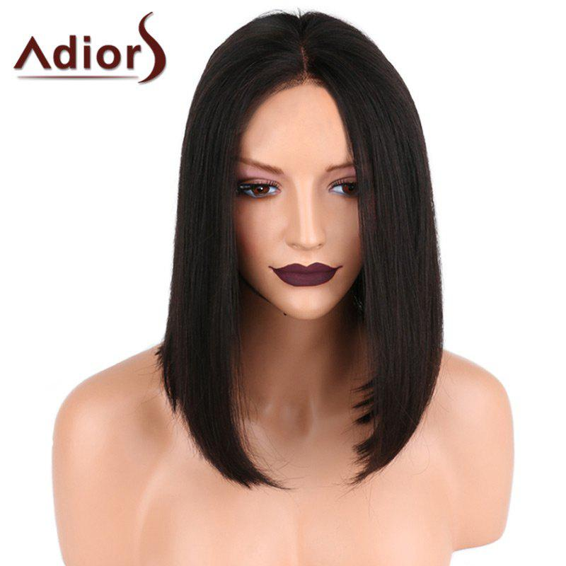 Adiors Center Parting Medium Shoulder Length Straight Bob Synthetic WigHAIR<br><br>Color: BLACK; Type: Full Wigs; Cap Construction: Capless; Style: Straight; Material: Synthetic Hair; Bang Type: Middle; Length: Medium; Length Size(CM): 36; Weight: 0.2000kg; Package Contents: 1 x Wig;