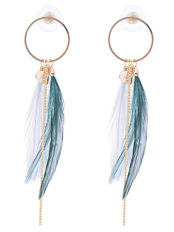 Fashion Natural Feather Link Chain Circle Drop Earrings
