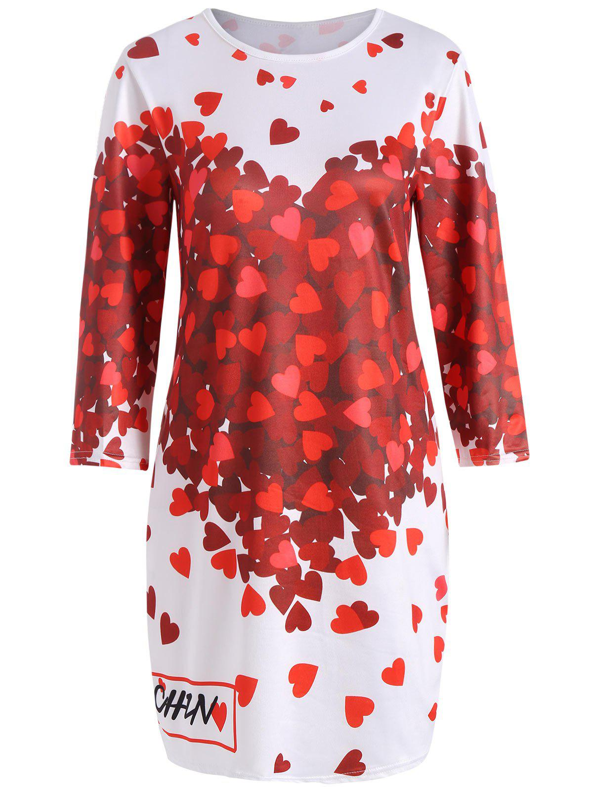 Best Endearing 3/4 Sleeve Hearts Printed Bodycon Mini Dress For Women