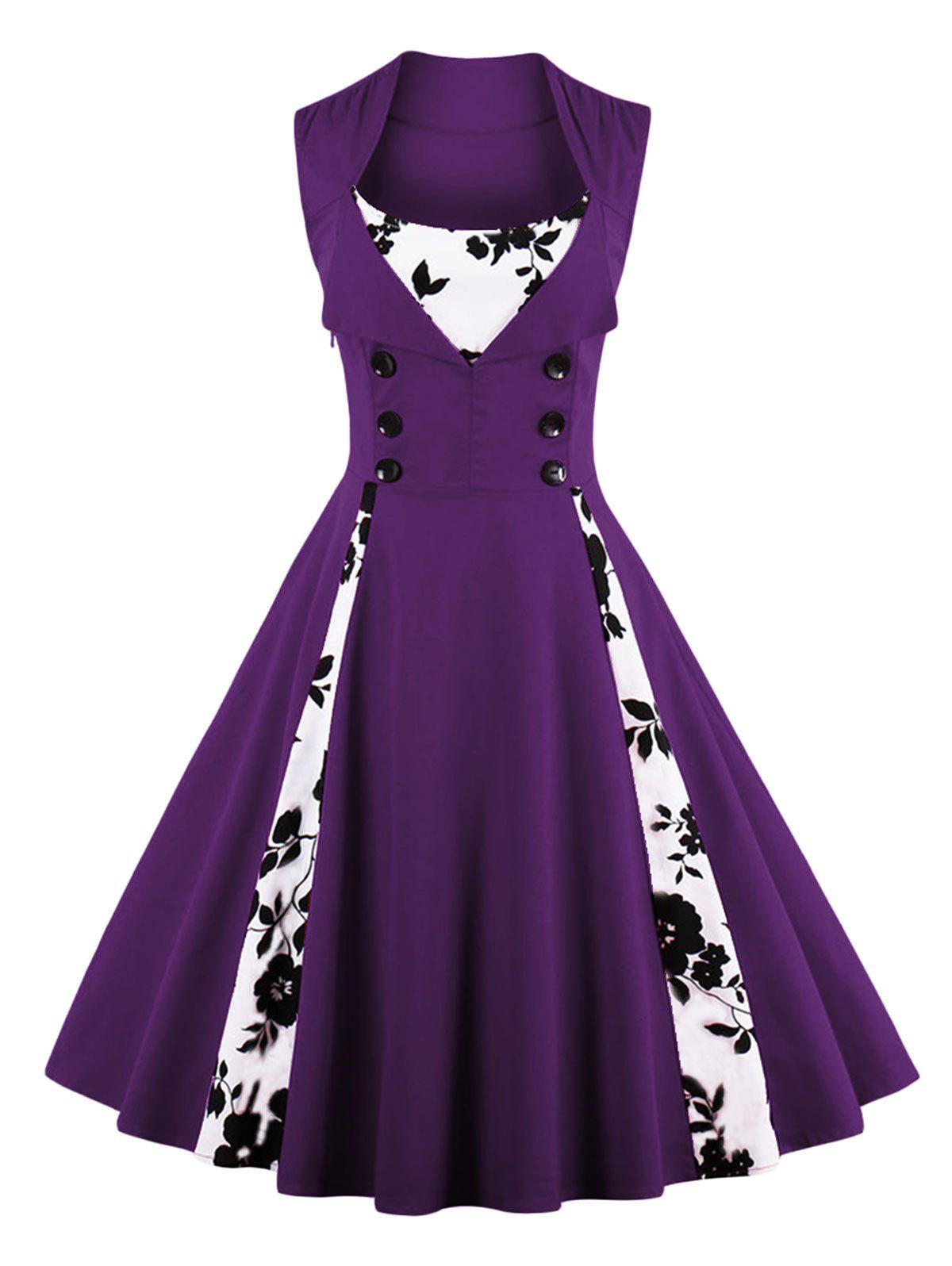 Vintage Floral Prom Swing DressWOMEN<br><br>Size: S; Color: DEEP PURPLE; Style: Vintage; Material: Cotton,Polyester; Silhouette: A-Line; Dresses Length: Knee-Length; Neckline: Scoop Neck; Sleeve Length: Sleeveless; Pattern Type: Floral; With Belt: No; Season: Fall,Spring,Summer; Weight: 0.4000kg; Package Contents: 1 x Dress;