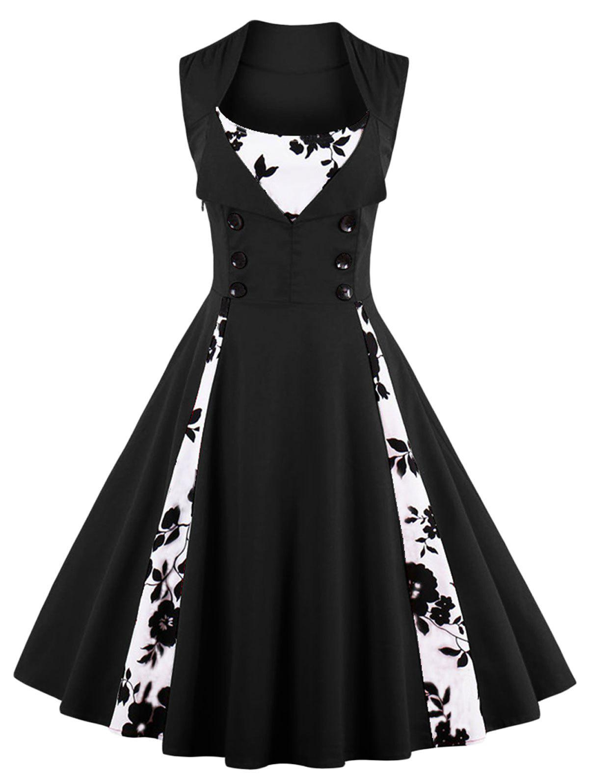 Vintage Floral Prom Swing DressWOMEN<br><br>Size: XL; Color: BLACK; Style: Vintage; Material: Cotton,Polyester; Silhouette: A-Line; Dresses Length: Knee-Length; Neckline: Scoop Neck; Sleeve Length: Sleeveless; Pattern Type: Floral; With Belt: No; Season: Fall,Spring,Summer; Weight: 0.4000kg; Package Contents: 1 x Dress;